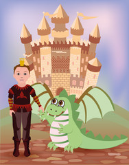 Little prince and dragon, vector illustration