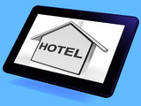 Hotel House Tablet Shows Holiday Accommodation And Units poster