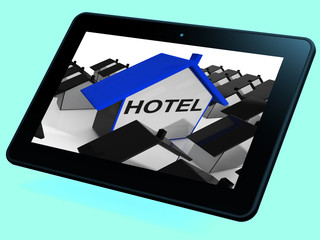 Hotel House Tablet Shows Place To Stay And Units