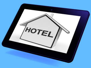 Hotel House Tablet Shows Holiday Accommodation And Units