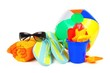 Group of colorful beach items