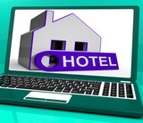 Hotel House Laptop Means Holiday Accommodation And Vacant Rooms poster