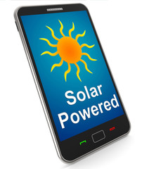 Solar Powered On Mobile Shows Alternative Energy And Sunlight