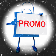 Promo Shopping Bag Shows Discount Reduction Or Save