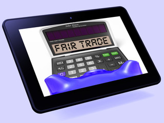 Fair Trade Calculator Tablet Shows Ethical Products And Buying