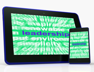 Leadership Tablet Shows Authority Guide Or Management