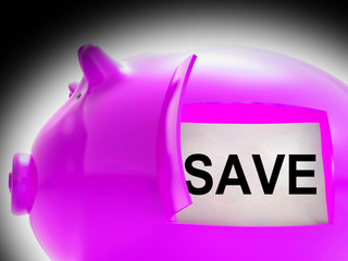 Save Piggy Bank Message Shows Savings On Products