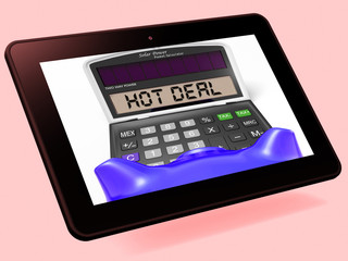 Hot Deal Calculator Tablet Shows Bargain Or Promo