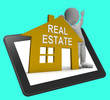 Real Estate House Tablet Shows Land And Buildings For Sale