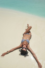 beautiful young woman  on beach have fun and relax