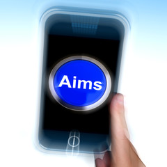 Aim On Mobile Phone Shows Targeting Aspirations