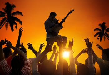 People Enjoying Music Festival Outdoors