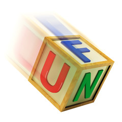 Fun Wooden Block Shows Enjoyment Playing And Recreation