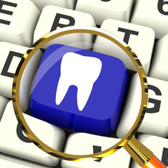 Tooth Key Magnified Means Dental Appointment Or Teeth