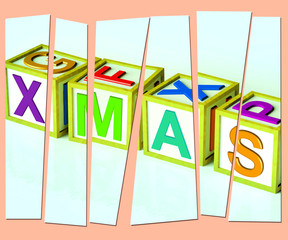 Xmas Letters Show Merry Christmas And Festive Season