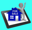 For Sale House Tablet Shows Property On Market