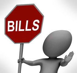Bills Red Stop Sign Means Stopping Bill Payment Due