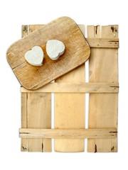 Speisekarte Holz vegetarisch isoliert weißer Hintergrund