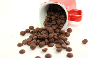 chocolate chip in red cup
