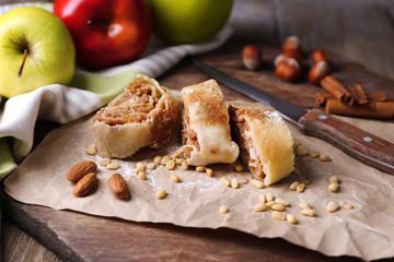 Tasty homemade apple strudel