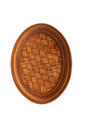 thai wooden tray on white background