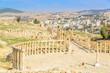 Oval Forum of Ruins Gerasa in Jerash, Jordan.