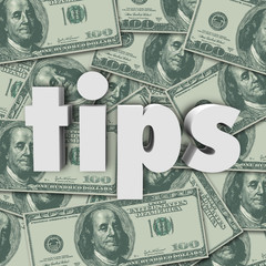 Tips Gratuity Word 3d Letters Money Cash Background