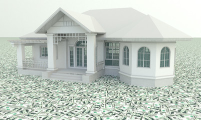 White 3D vintage house on the pile of money in isolated backgrou