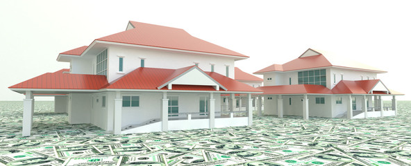 Red 3D houses on the pile of money in isolated background