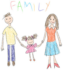 Drawing of a happy familiy in kindergarten style