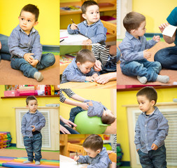 Little child boy playing in kindergarten in Montessori preschool