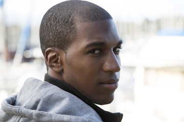 African American male model looking back at the camera glaring