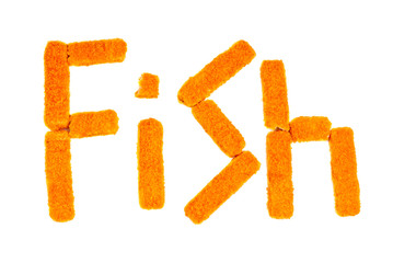 "Word ""fish"" crafted from fish sticks on a white background"