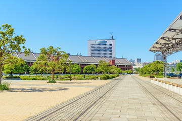 A railway to town in Red Brick Park, Yokohama, Japan