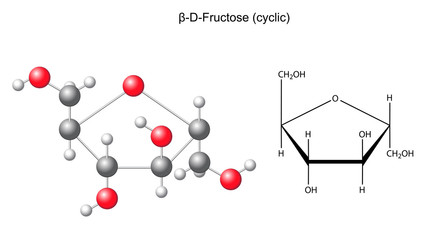 Сhemical formula and model of fructose (beta-D-fructose)