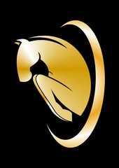 logo horse gold icon