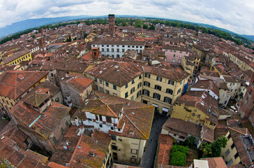 Fisheye view cityscape of Lucca with Guinigi tower, Tuscany