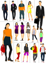 Men and women over white background. Vector illustration