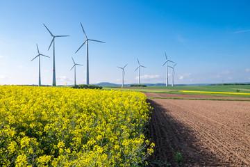 Rural landscape with windwheels seen in Germany