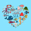 I Love Sea nautical themed design - 66033384