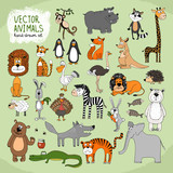 Fototapety Hand-drawn vector wild animals collection