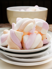 Marshmallows on white background close up