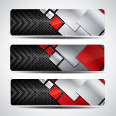 Metal banner set with carbon background and red elements