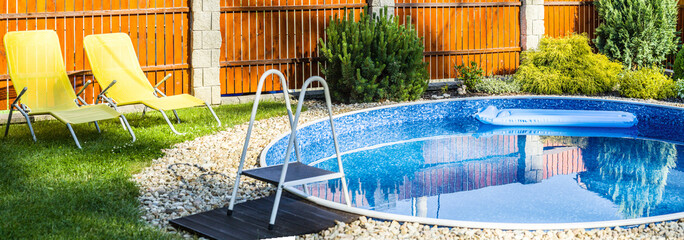 panorama of small home swimming pool