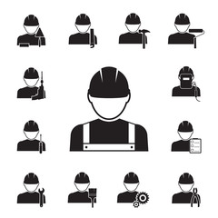 Icons of workmen coupled with different tools