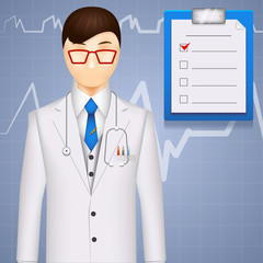 MD or cardiologist on a cardiogram background