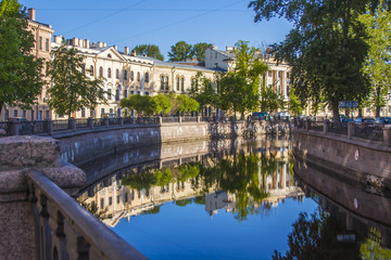 St. Petersburg, Russia. Embankment of Griboyedov Canal and its r