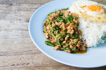Stir fried minced pork with holy basil