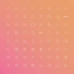 Thin line web icon set.