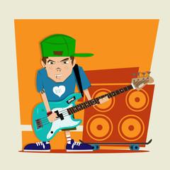 Punk rock boy bass player